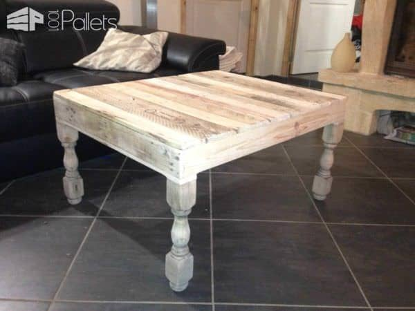 Table basse pieds tourn s en ch ne pallet coffee table - Transformer palette table basse ...