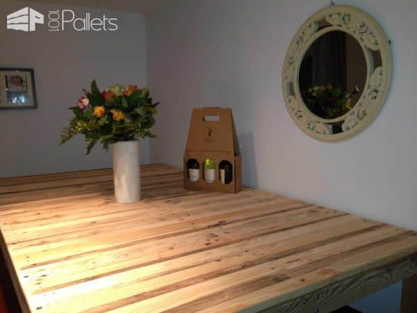 table haute mange debout kitchen high pallet table 1001 pallets. Black Bedroom Furniture Sets. Home Design Ideas