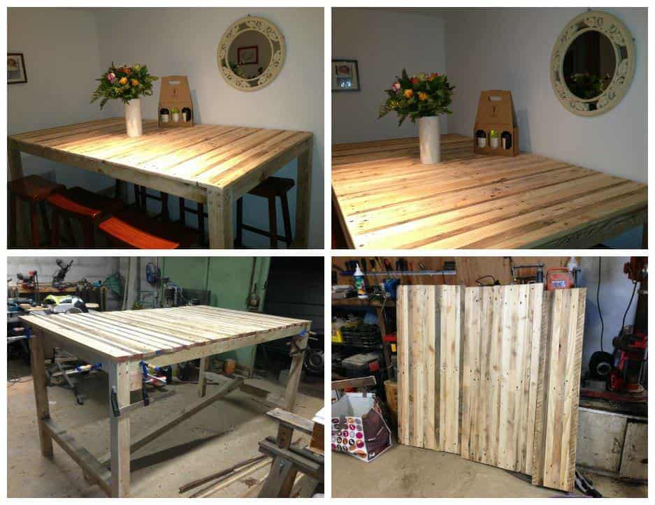 "table haute ""mange debout"" / kitchen high pallet table • 1001 pallets"