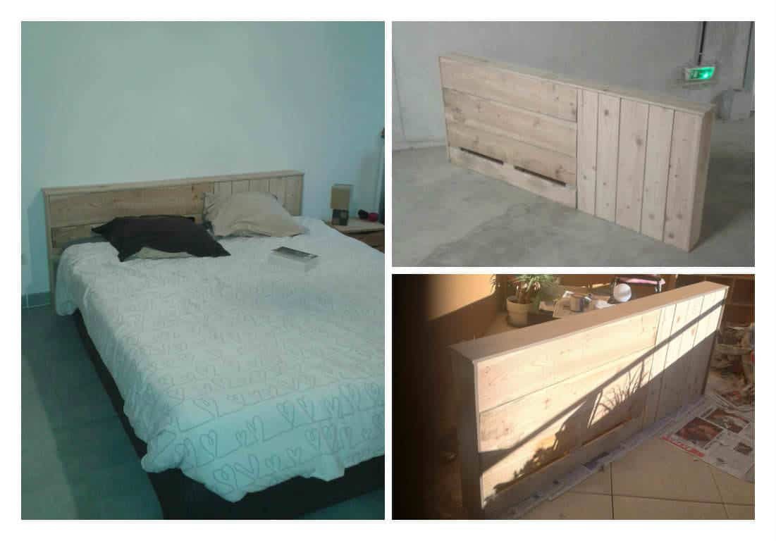t te de lit en bois de palette pallet bed headboard. Black Bedroom Furniture Sets. Home Design Ideas