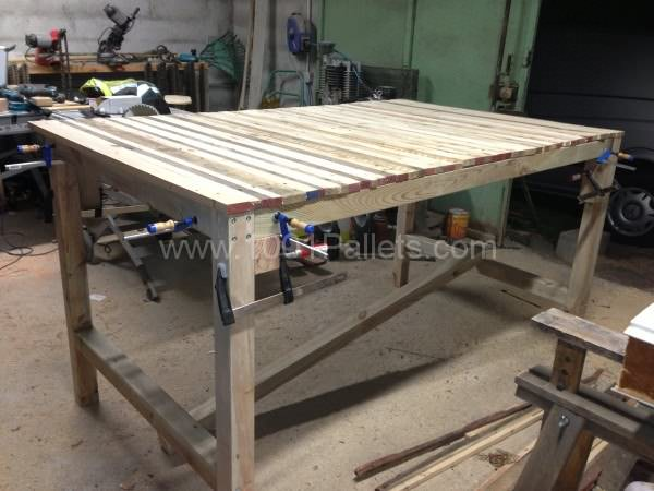 Table haute mange debout kitchen pallet table 1001 for Table haute palette