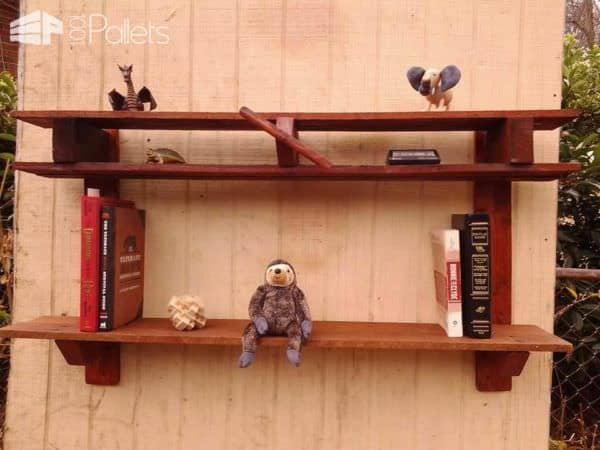 Double Shelf Pallet Plane with Spinning Propeller Pallet Shelves & Pallet Coat Hangers