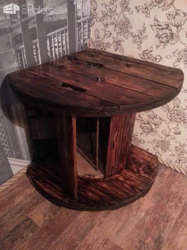 Corner Tv Table Made from a Reused Reel Pallet TV Stands & Racks