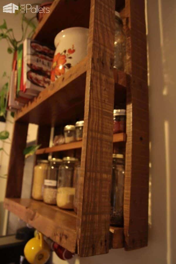 Tag re de cuisine en palette kitchen pallet shelf for Etagere de cuisine en palette