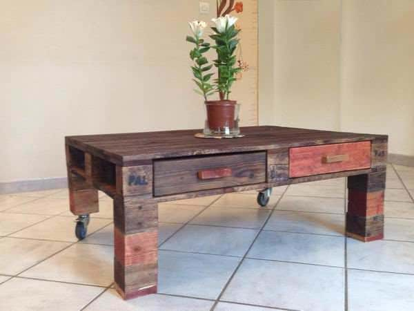 Pallet coffee table with drawers pallet ideas 1001 pallets for Table basse bar wenge