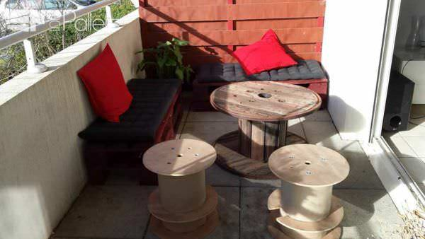 Salon De Balcon / Balcony Pallet Lounge Set Lounges & Garden Sets Pallet Benches, Pallet Chairs & Pallet Stools
