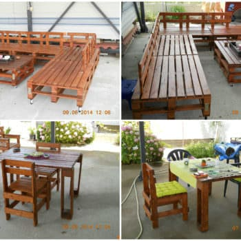Sofa, Table, Coffee Table & Chairs: 100% Recycled Pallets
