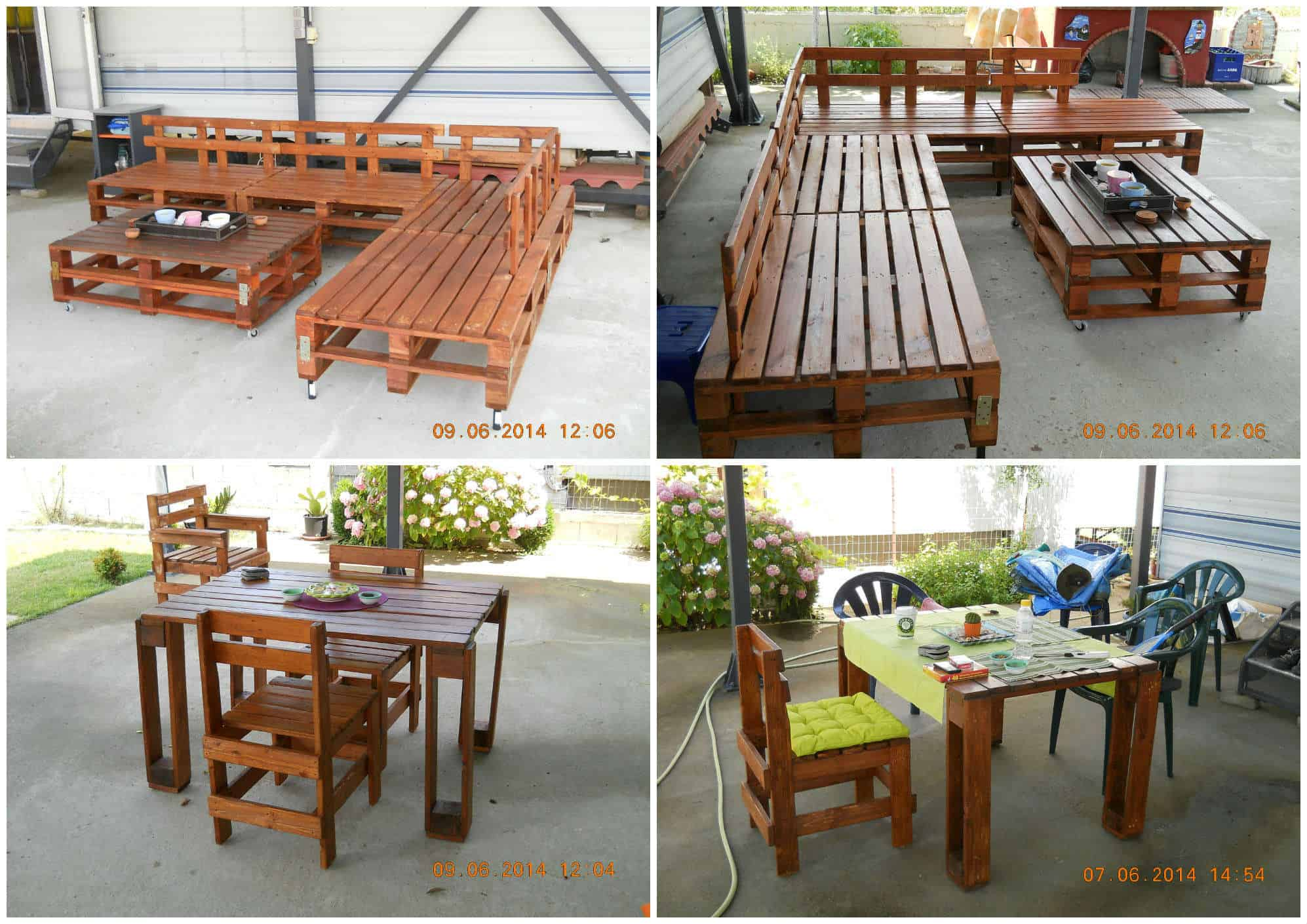 Sofa Table Coffee Table & Chairs 100% Recycled Pallets • 1001