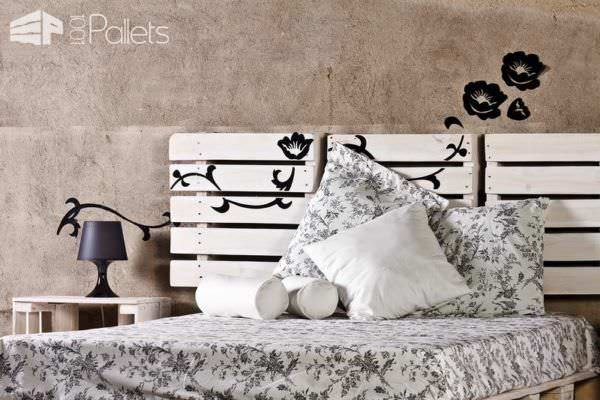 Bed, Headboard & Nightstand Made From Reclaimed Pallets DIY Pallet Bedroom - Pallet Bed Frames & Pallet Headboards