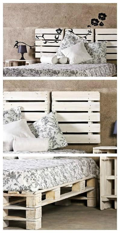 Bed, Headboard & Nightstand Made From Reclaimed Pallets