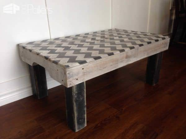 Chevron Pallet Coffee Table chevron painted coffee table made from repurposed pallets • pallet