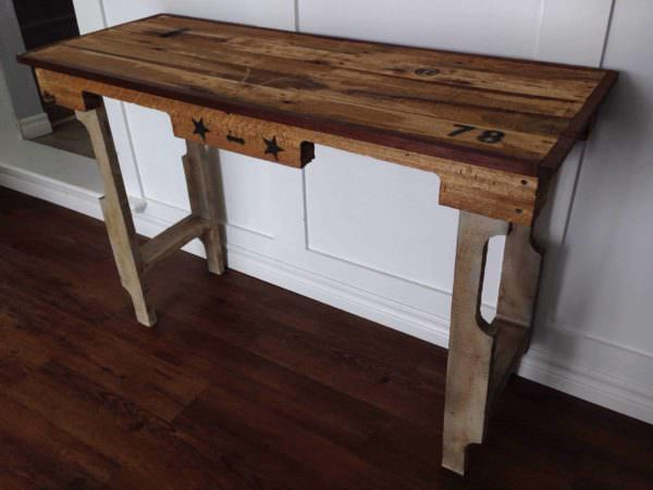 Entrance or Sofa Table From Recycled Pallets Pallet Desks & Pallet Tables