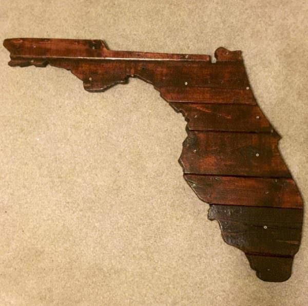 Florida State Outline With Pallets Pallet Wall Decor & Pallet Painting