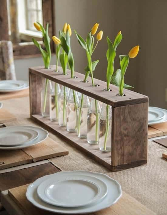 Glass Bottle And Pallet Vase Pallet Home Accessories