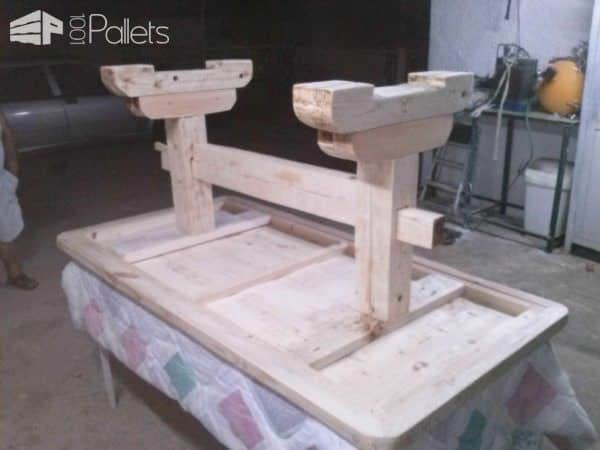 Monastery Coffee Table Made From a Big Wooden Pallet Pallet Desks & Pallet Tables