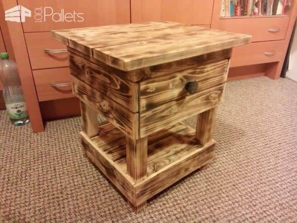 Night Stand Made From Old Pallet Wood Pallet Desks & Pallet Tables