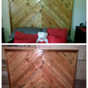 Pallet Bed Headboard Made From Upcycled Pallets & Packaging Crates