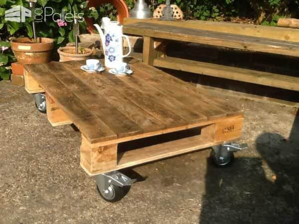 Pallet Coffee Table on Wheels Pallet Coffee Tables