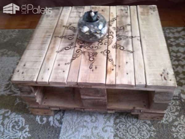Pyrographed Pallet Coffee Table Pallet Coffee Tables