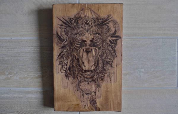 Reclaimed Wood Art: Tiger / Tableau Tigre Pallet Wall Decor & Pallet Painting