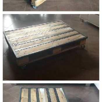 Industrial console from pallets metal console industrielle en bois et - Table basse metallique ...