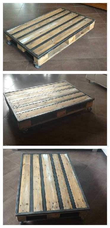 Table basse palette metal pallet metal coffee table - Transformer palette table basse ...