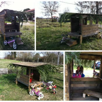 Cabane En Palettes Recyclées / Recycled Pallets Into Cool Hut For Kids