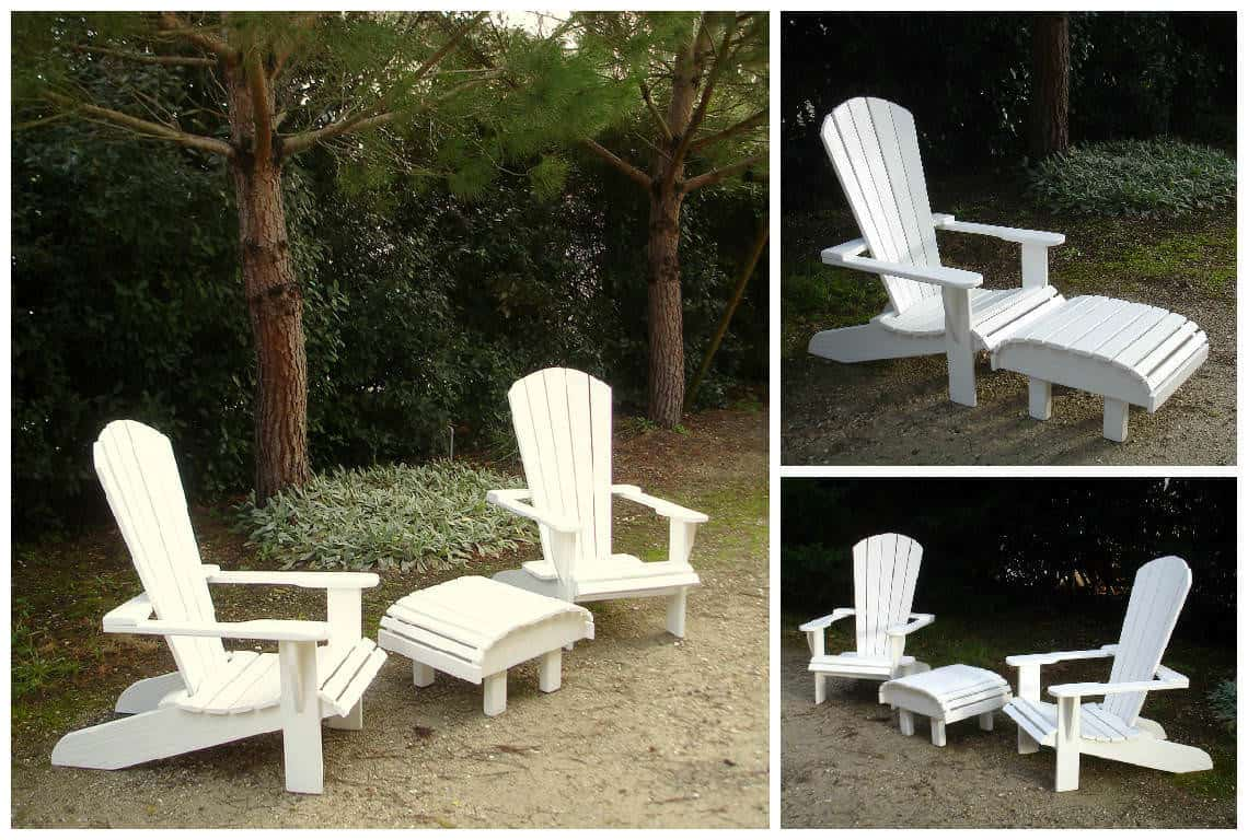 fauteuils adirondack blancs en palettes recycl es white pallet adirondack chairs 1001 pallets. Black Bedroom Furniture Sets. Home Design Ideas