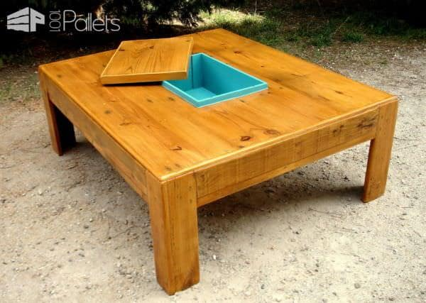 Grande Table Basse Avec Caisson Central Large Coffee Table With Central Box Pallet Ideas