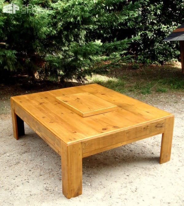 Grande Table Basse Avec Caisson Central / Large Coffee Table With Central Box Pallet Coffee Tables