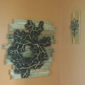 Pallet Frame With Torch & Stencil Drawing