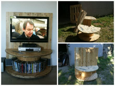 Pallet TV Stand From Reclaimed Cable Drum & Pallet Wood