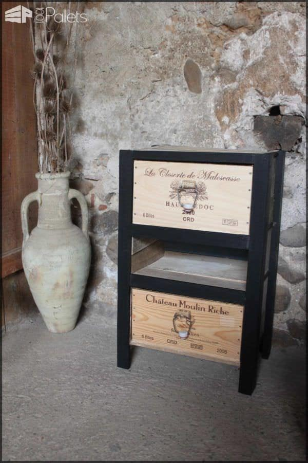 Petit Meuble à Tiroirs / Reclaimed Pallets and Wine Crates Cabinet Pallet Cabinets & Pallet Wardrobes