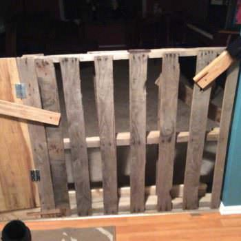 Recycled Pallet Into Dog Door