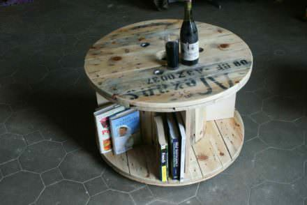 Side Table From Recycled Cable Drum