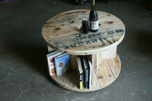 Side Table From Recycled Cable Drum Pallet Desks & Pallet Tables