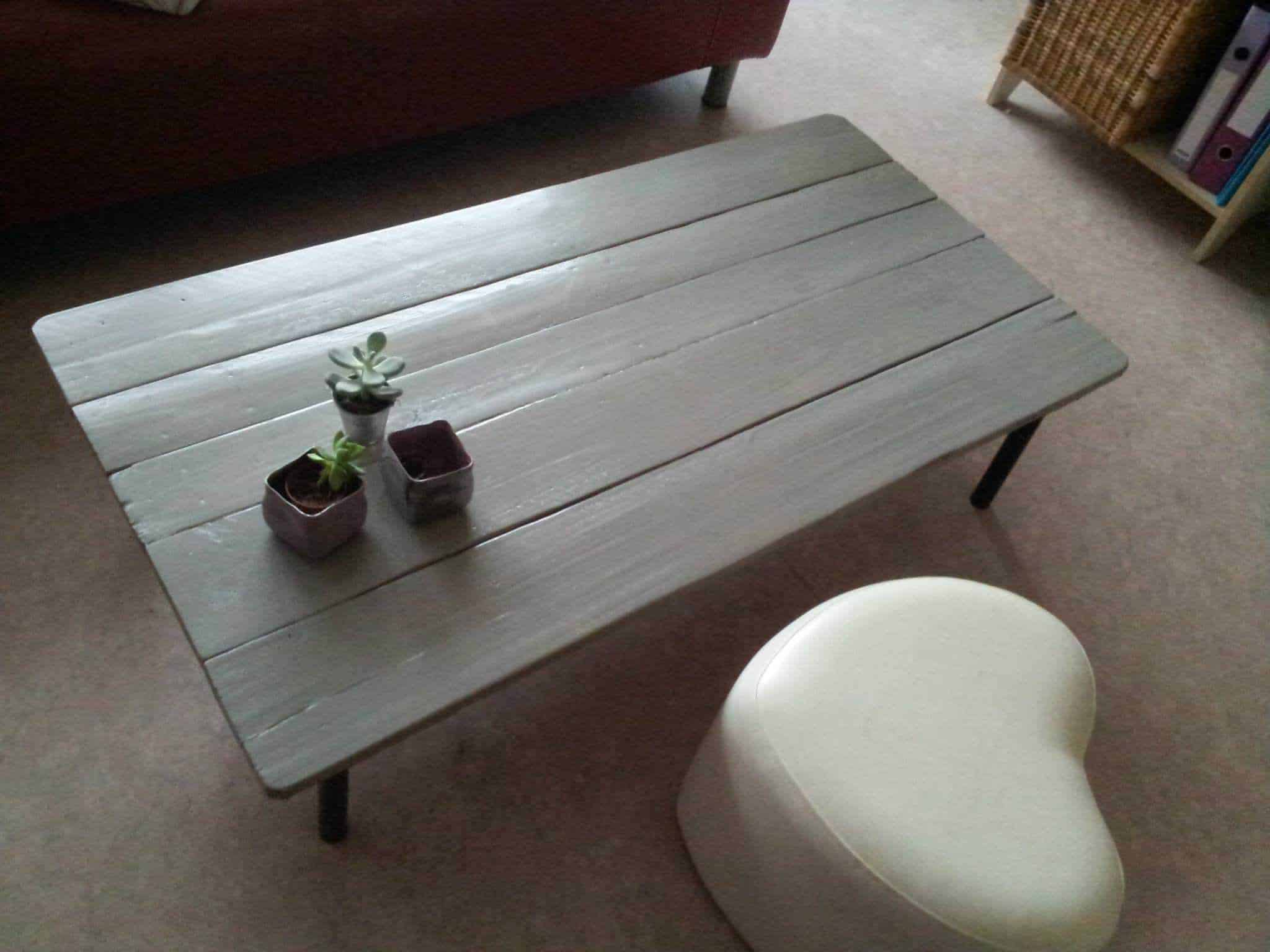 Table basse en palette pallet coffee table pallet - Table basse palette blanche ...