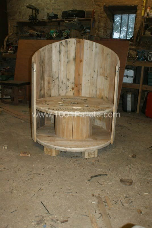 Reclaimed Cable Drum And Pallet Wood Chair 1001 Pallets