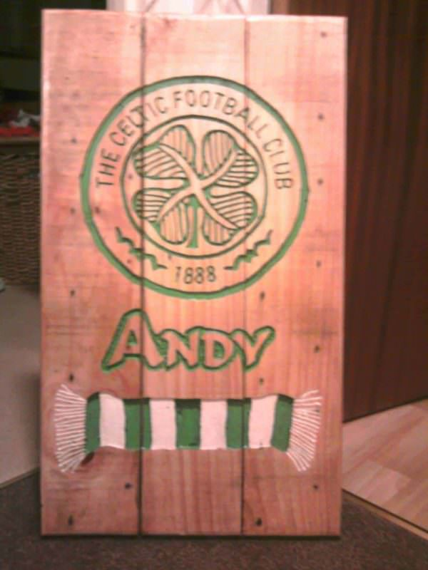 Celtic Fc Pallet Wood Carved Sign Pallet Wall Decor & Pallet Painting