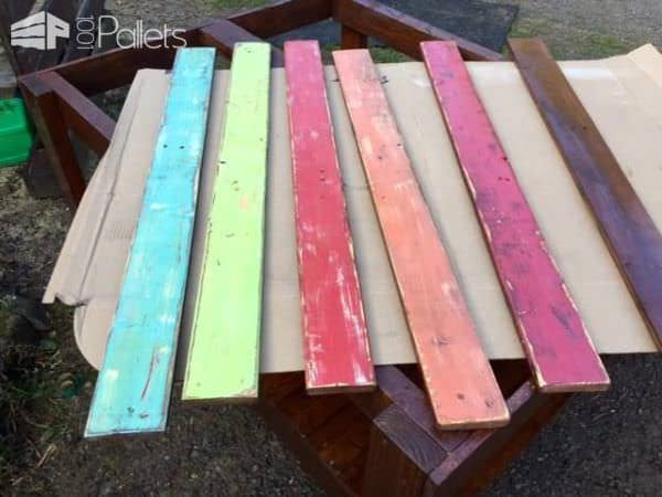 Colored Pallet Garden Table Pallet Desks & Pallet Tables