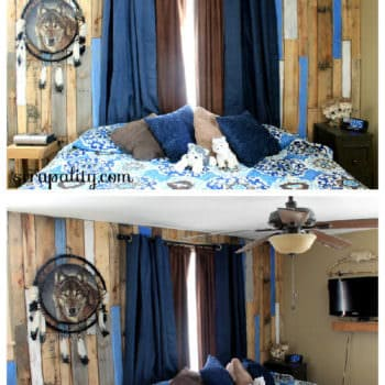 Distressed Vertical Pallet Bedroom Wall