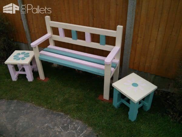 Garden Bench & Two Coffee Tables Made From Reclaimed Pallets Pallet Benches, Pallet Chairs & Stools Pallet Coffee Tables