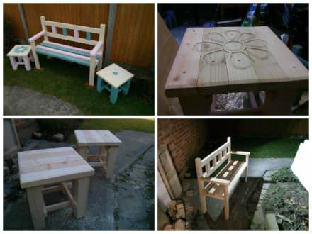 Garden Bench & Two Coffee Tables Made From Reclaimed Pallets