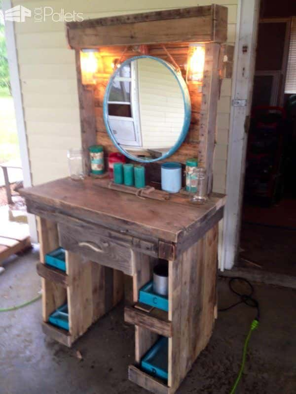 Makeup vanity made from reclaimed wooden pallets 1001 pallets - How to make table out of wood pallets ...