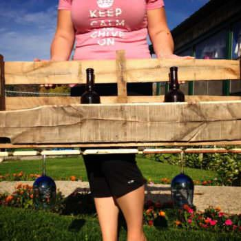 Pallet Wine Rack With Glass Holder