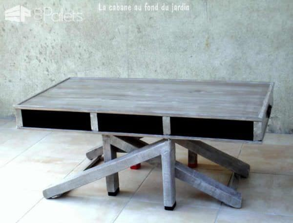 Table basse et haute 2by1 en bois de palettes modular for Table basse palette