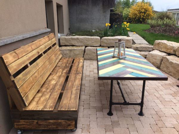 Terrace pallet bench table 1001 pallets for Palette deco terrasse