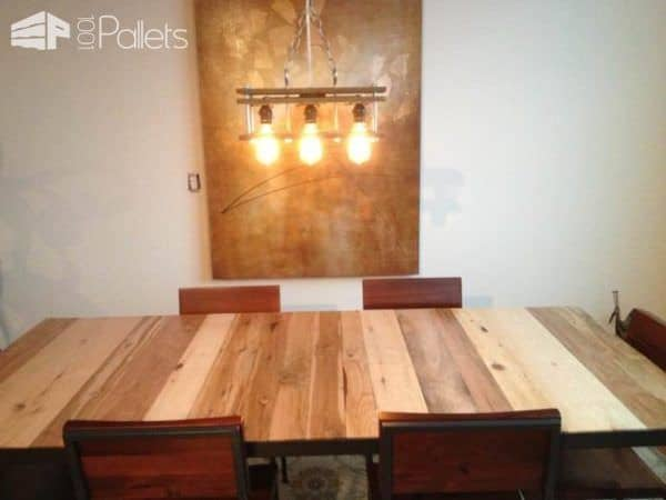 Upcycled Pallet Pendant Light With Edison Bulbs Pallet Lamps & Lights