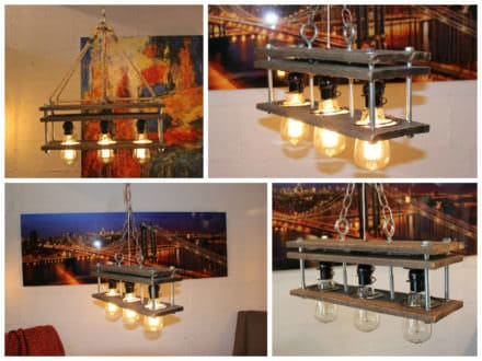 Upcycled Pallet Pendant Light With Edison Bulbs