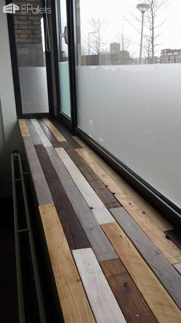 Windowsill Made Of Recycled Pallets Pallet Shelves & Pallet Coat HangersPallet Walls & Pallet Doors